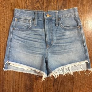 MADEWELL High Waist Step Hem Denim Shorts 25 NWT